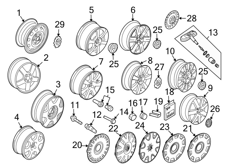 2004 volkswagen beetle wheel cap  wheels  center  gray