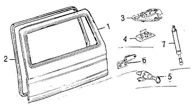 1990 volkswagen vanagon hatch lift support  wiper  gate  make