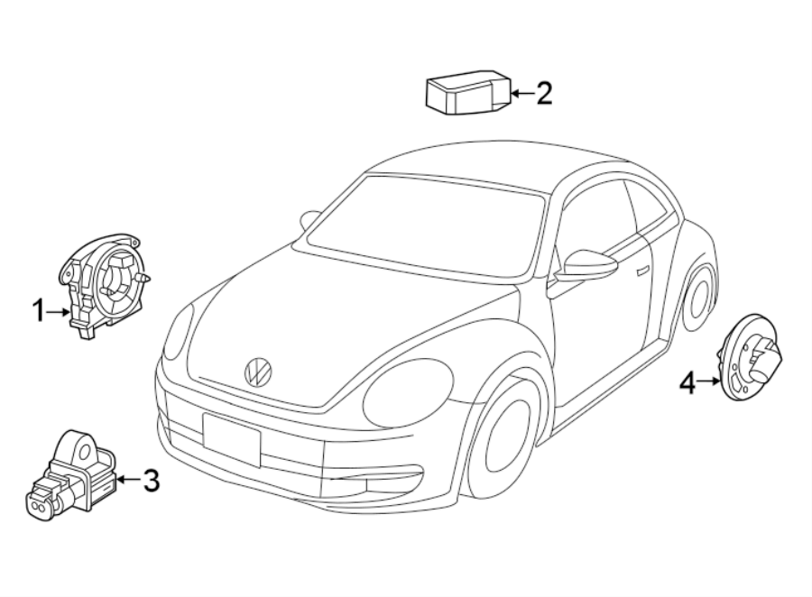 2015 volkswagen beetle convertible air bag impact sensor  front