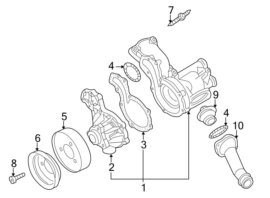 2001 Volkswagen Cabrio Engine Water Pump Stud  Pulley