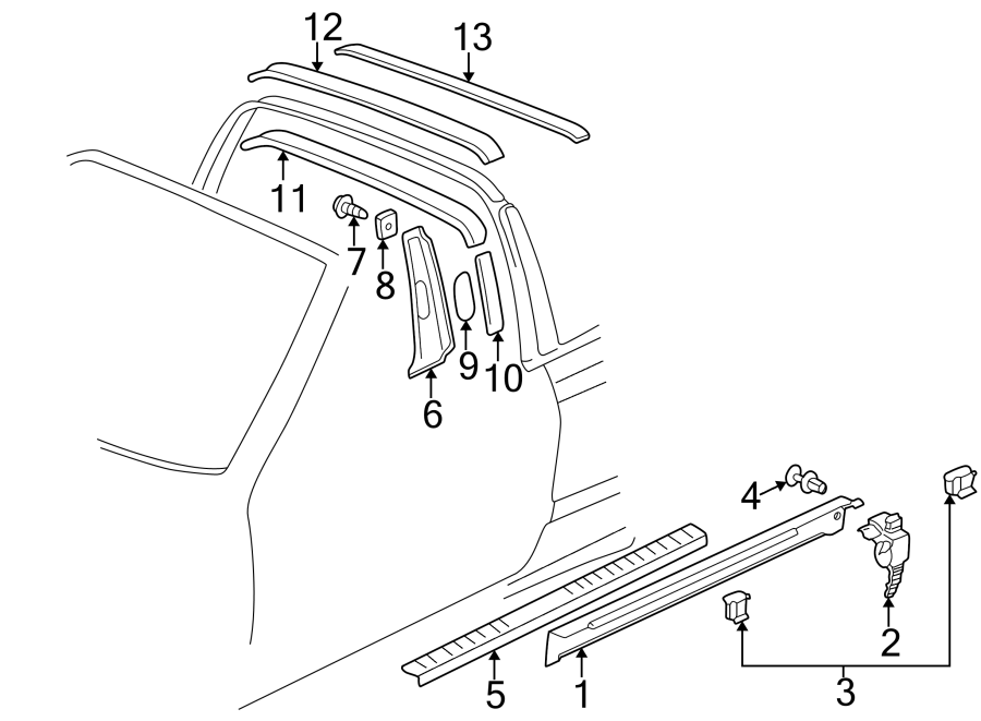2001 volkswagen cabrio body b pillar trim panel nut body. Black Bedroom Furniture Sets. Home Design Ideas