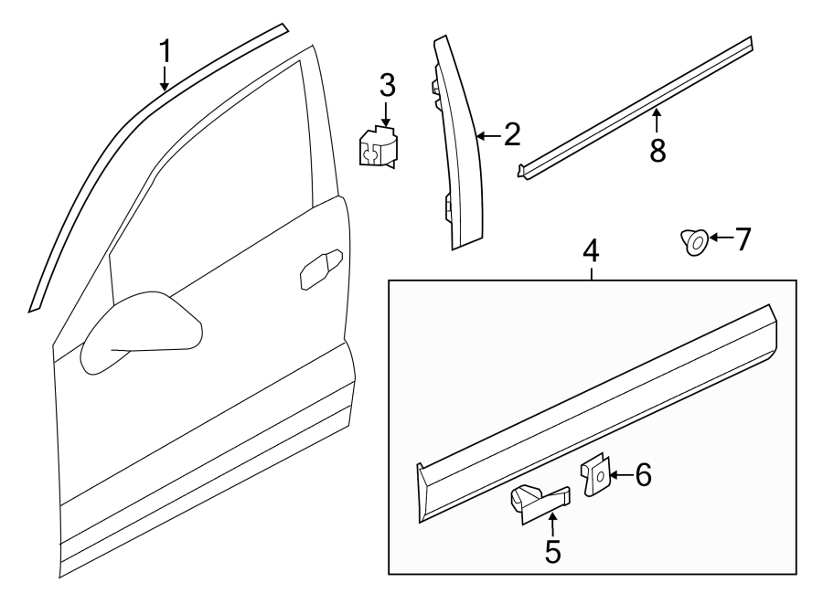 2014 volkswagen touareg door molding  lower   right  trim  line