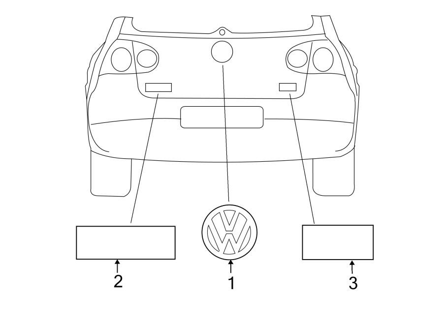 Exterior Car Part Names: 2013 Volkswagen Golf Hatch Emblem. Nameplate