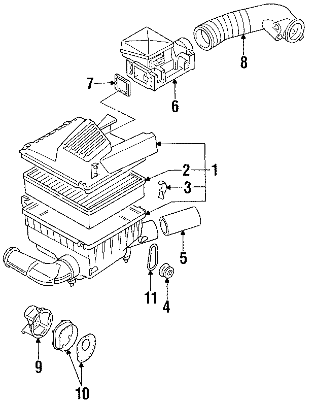 1997 volkswagen golf air filter housing lid clip  liter