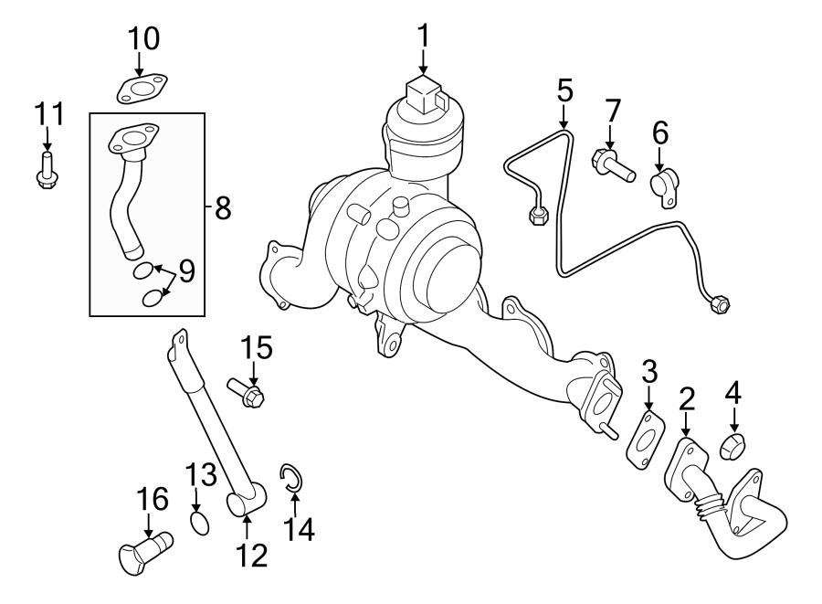 2013 Volkswagen Jetta Turbocharger Oil Line O