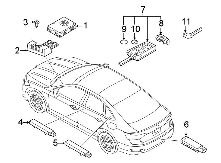 2014 volkswagen sportwagen keyless entry transmitter  sedan   remote  control  alarm