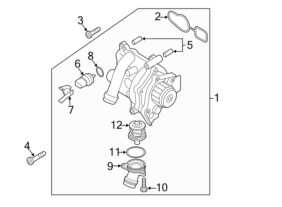 2010 Volkswagen Eos Engine Coolant Thermostat. 2009-16 ...