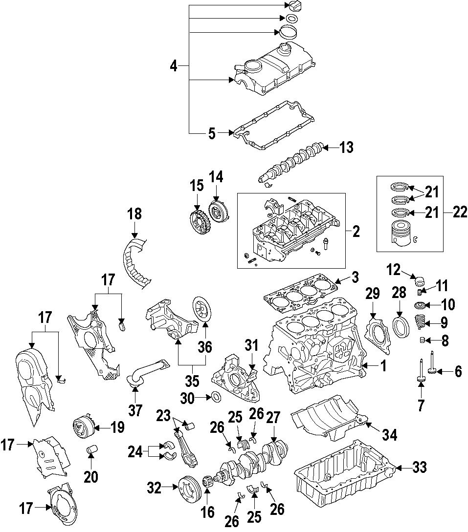 2013 volkswagen golf engine valve cover  includes valve